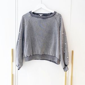 Distressed sweatshirt with pearls from Italy